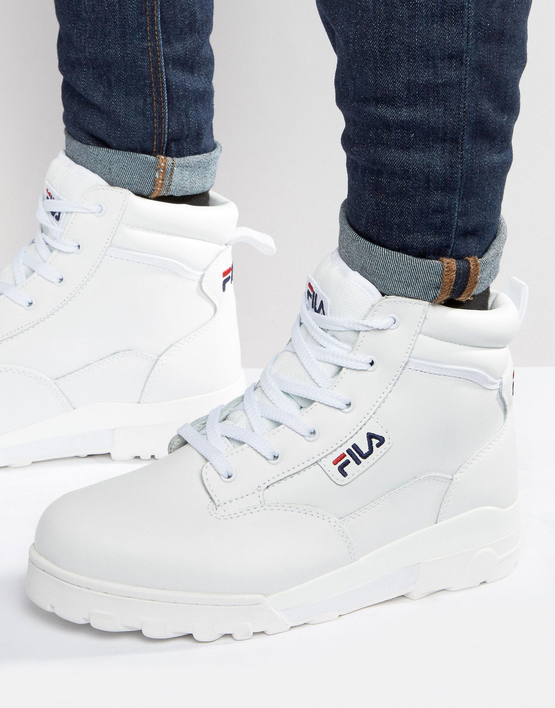 49f85158 Fila White Grunge Mid Laceup Boots for men