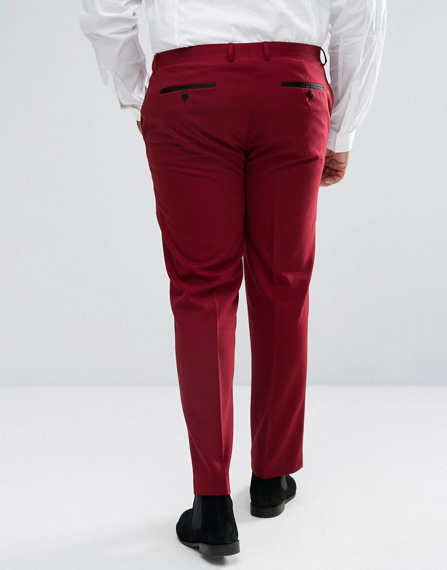 ASOS Synthetic Asos Plus Skinny Tuxedo Suit Pants In Ruby Red for Men