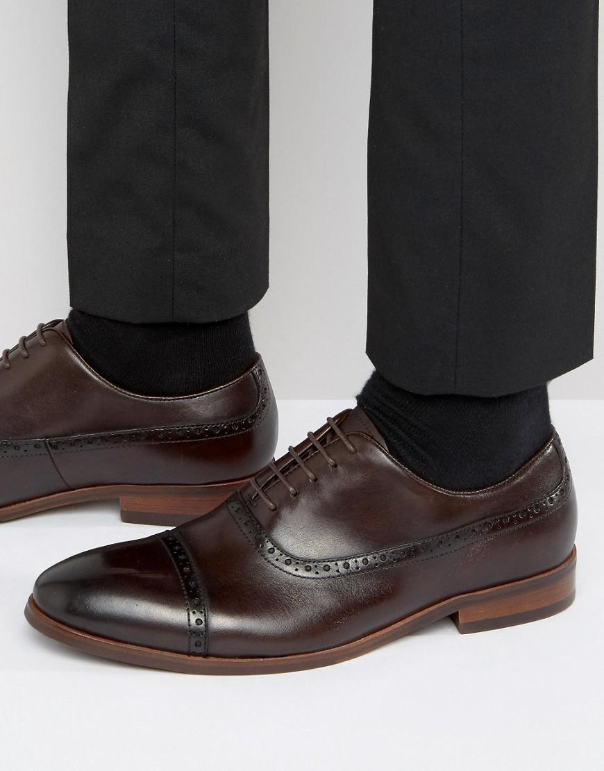 Men Dune Promise Leather Brogues Trainers Brown Us Sale