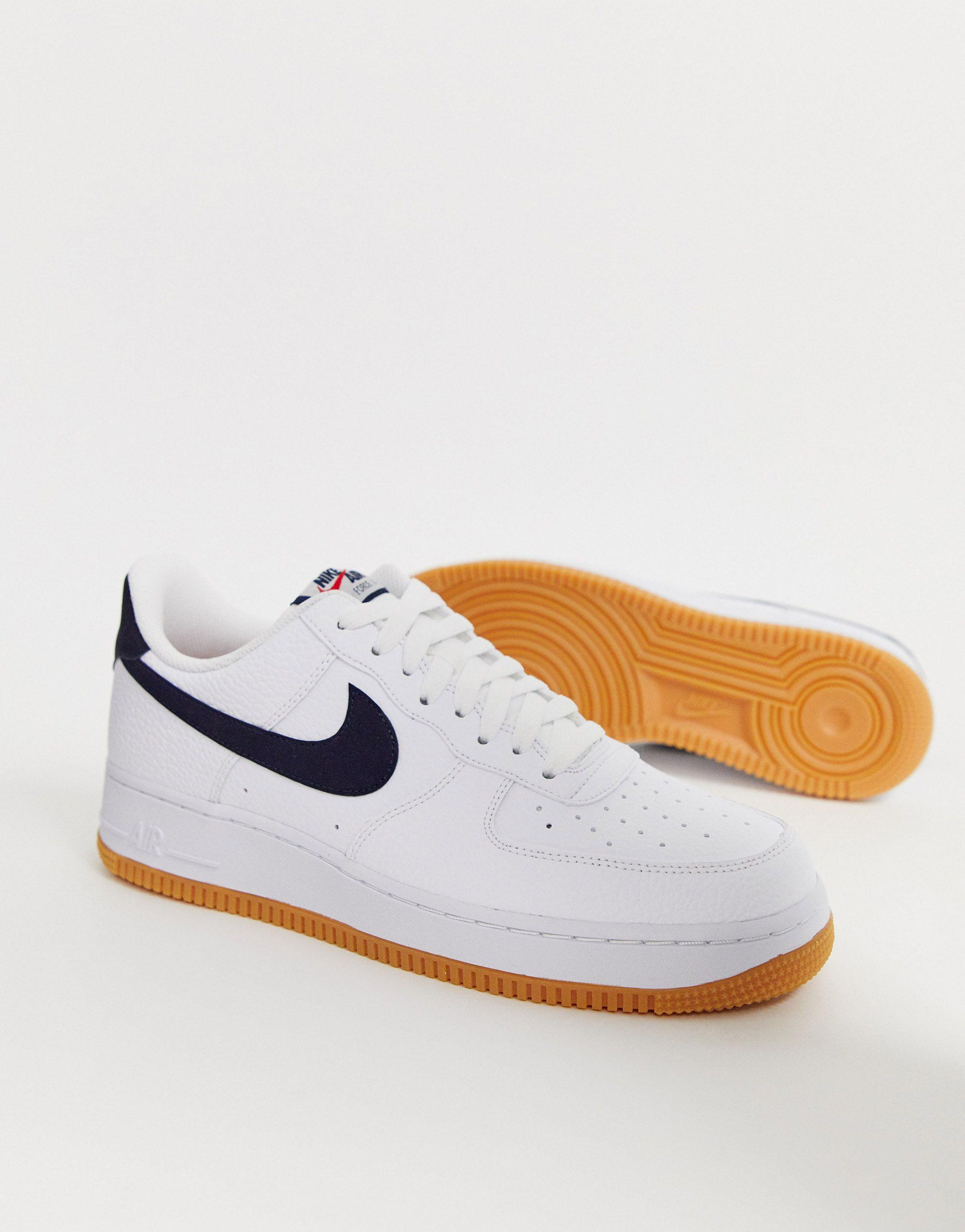 Sneakers With Navy Swoosh And Gum Sole