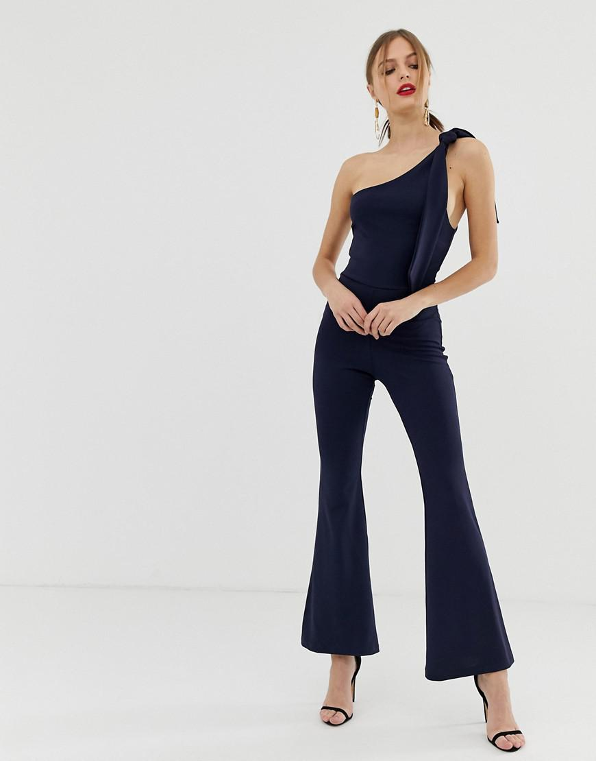 8a498f1c0d1 John Zack One Shoulder Fitted Jumpsuit With D Ring Belt Detail In ...