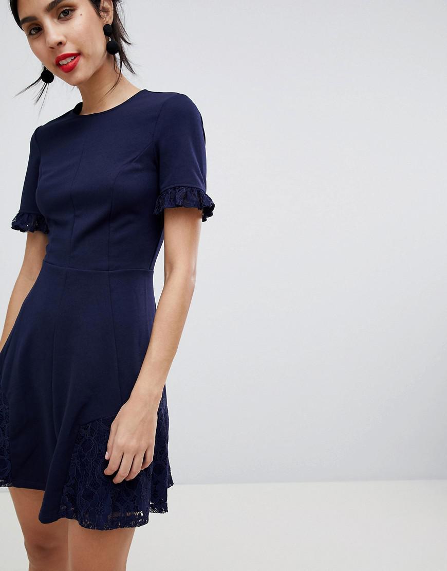 80f5d3a27e Lyst - ASOS Asos Lace Insert Mini Skater Dress in Blue