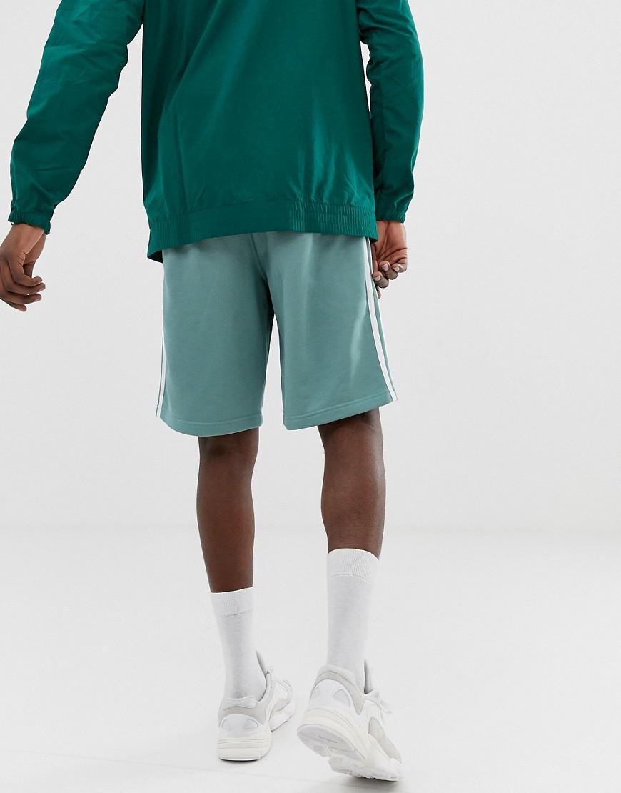 adidas Originals Cotton 3 Stripe Jersey Shorts Green for Men - Lyst