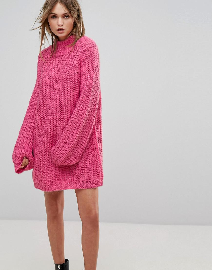 917e6e7140 Lyst - Vero Moda High Neck Oversized Jumper Dress in Pink