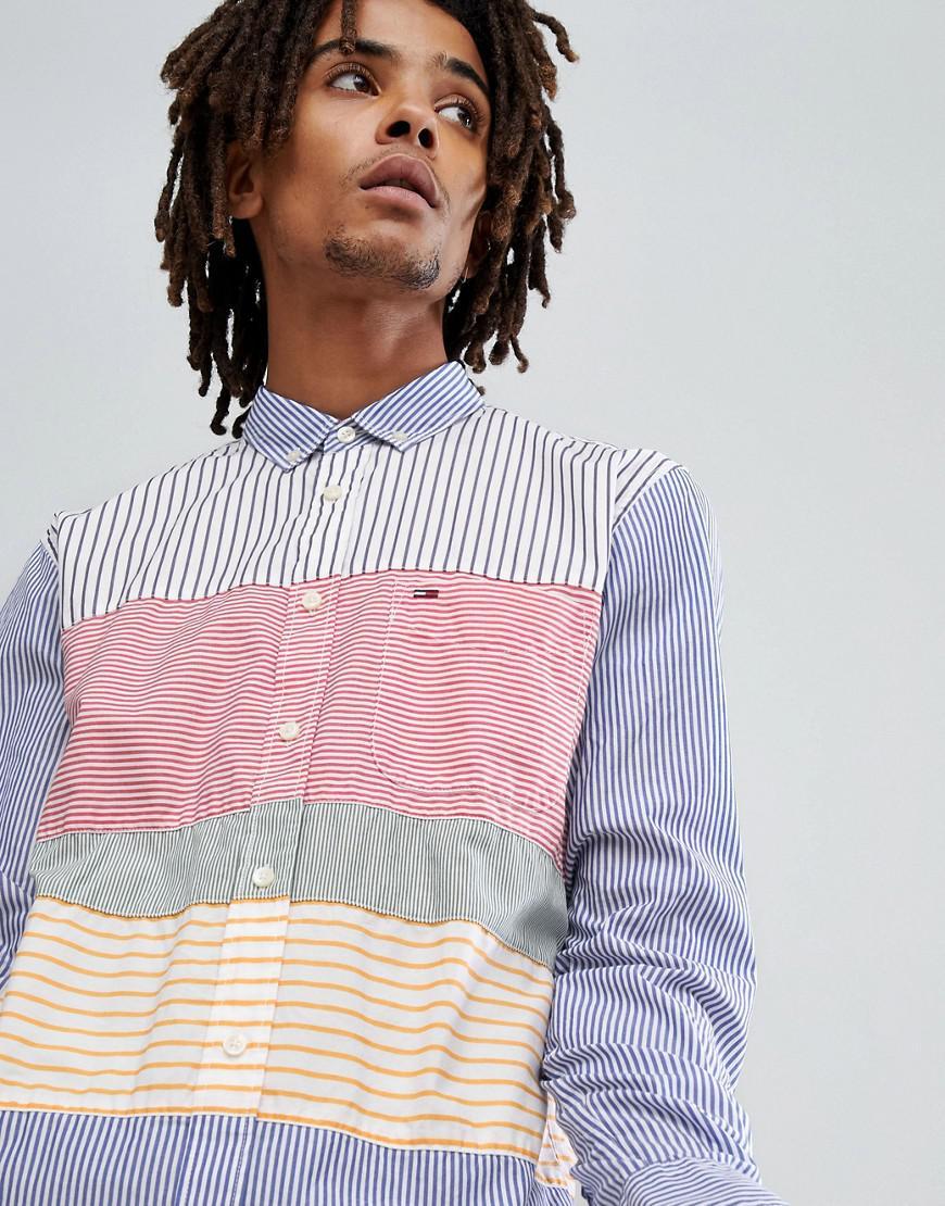 21c6be0a0 Hilfiger Denim Tommy Jeans Cut & Sew Stripe Shirt Regular Fit In ...
