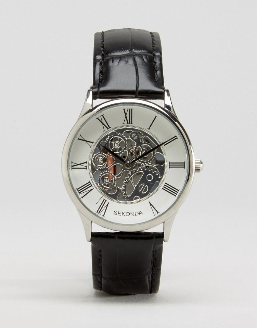 c5363a04a8d4 Sekonda - Exposed Mechanical Skeleton Leather Watch In Black Exclusive To  Asos for Men - Lyst. View fullscreen