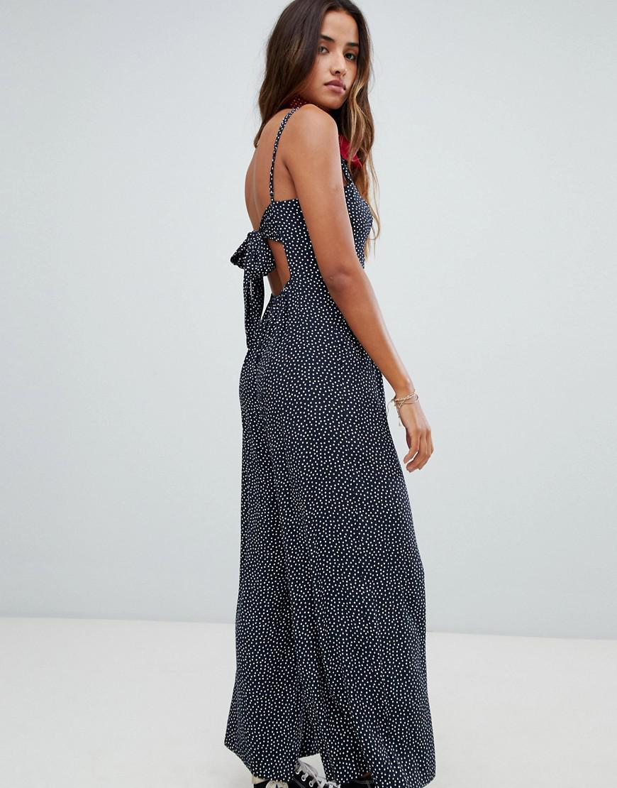 3349536a93 Abercrombie   Fitch Jumpsuit With Tie Back Bodice In Ditsy Spot in Blue -  Lyst