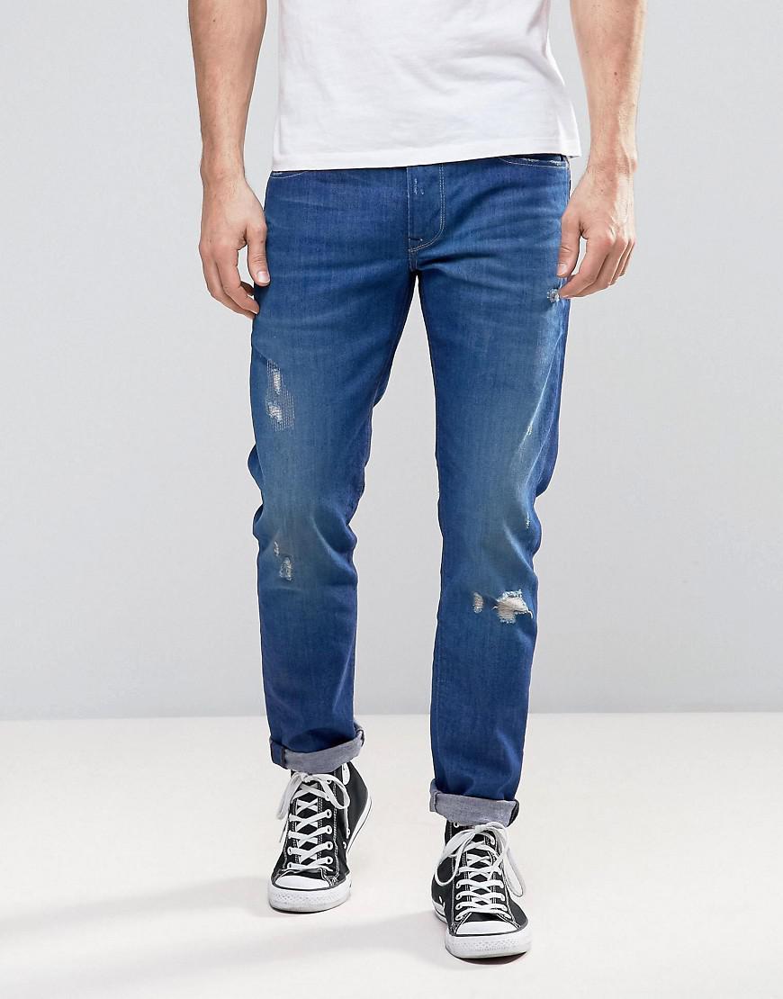 lyst pepe jeans pepe hatch slim fit jeans tru blu wash. Black Bedroom Furniture Sets. Home Design Ideas