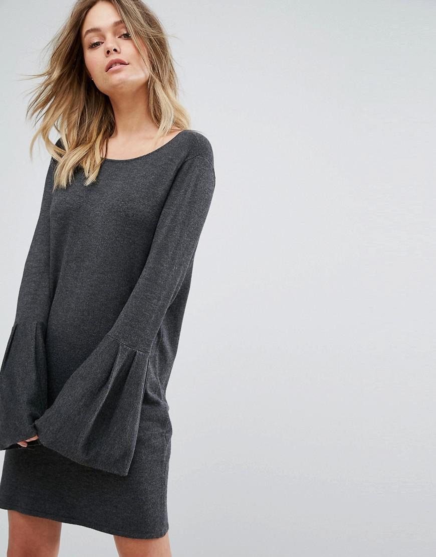 cd4d1f000bd Vero Moda Bell Sleeve Knitted Sweater Dress in Gray - Lyst