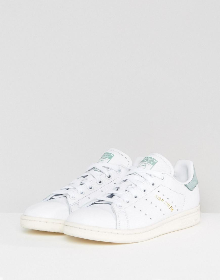 adidas Originals Leather Originals White And Mint Stan Smith Sneakers