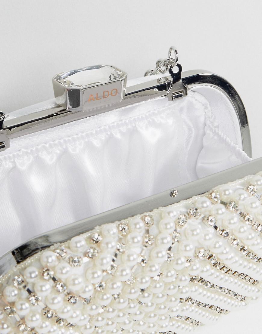 f70493ddb26 ALDO Alauria Pearl Bead Clutch Bag in White - Lyst