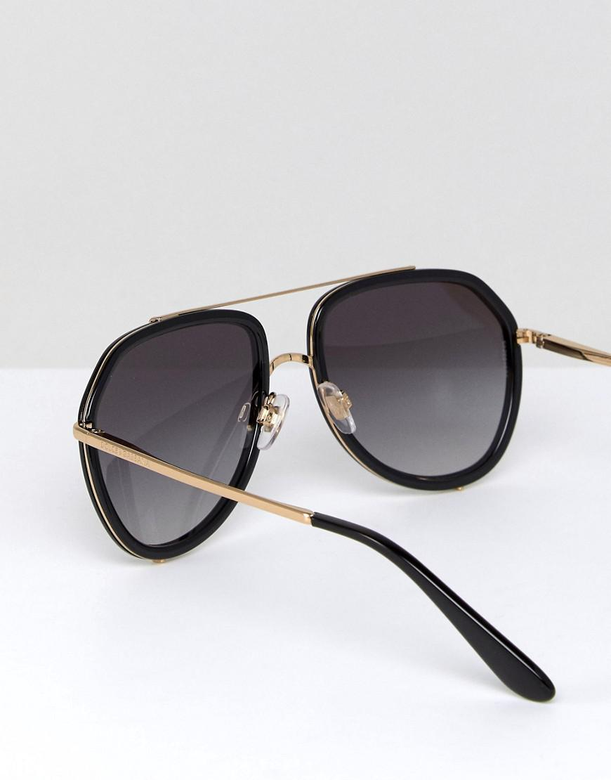 Dolce & Gabbana 0dg2161 Aviator Sunglasses In Black 55mm