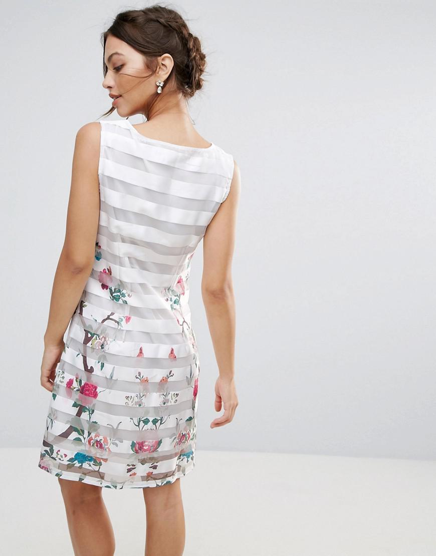 729ceffe4f25 Amy Lynn Amy Lynn Mesh Striped Shift Dress With Floral Panel in ...