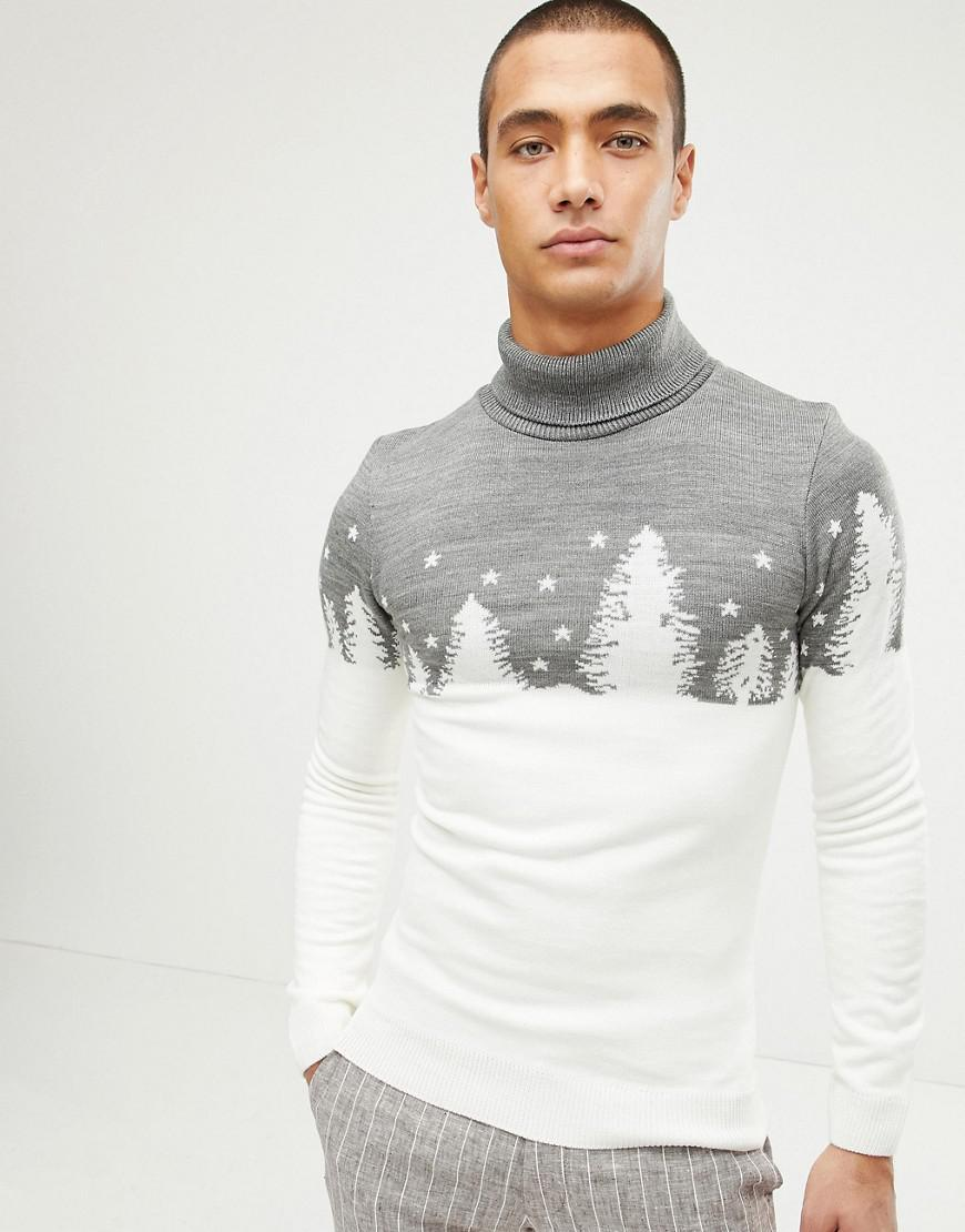 Lyst - Boohoo Christmas Roll Neck Sweater In Snow Scene in White for Men