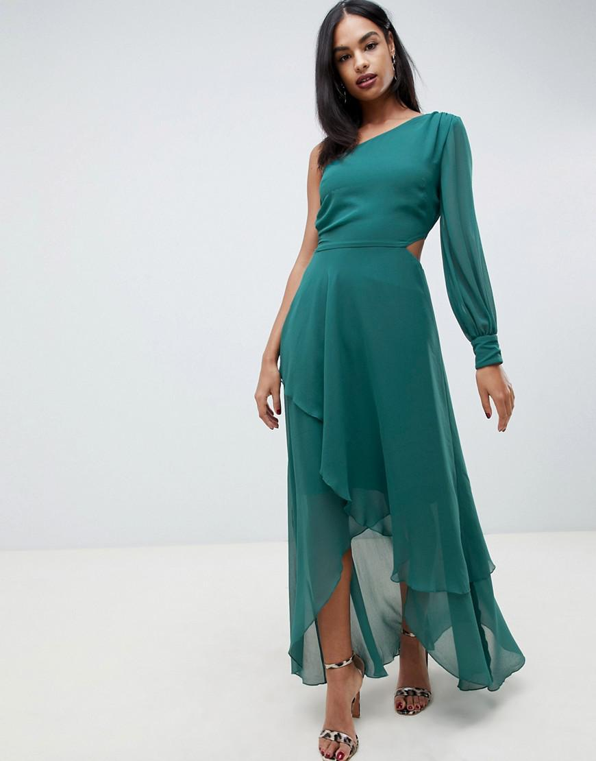 d6897065b100 Lyst - ASOS One Shoulder Blouson Sleeve Tiered Maxi Dress in Green