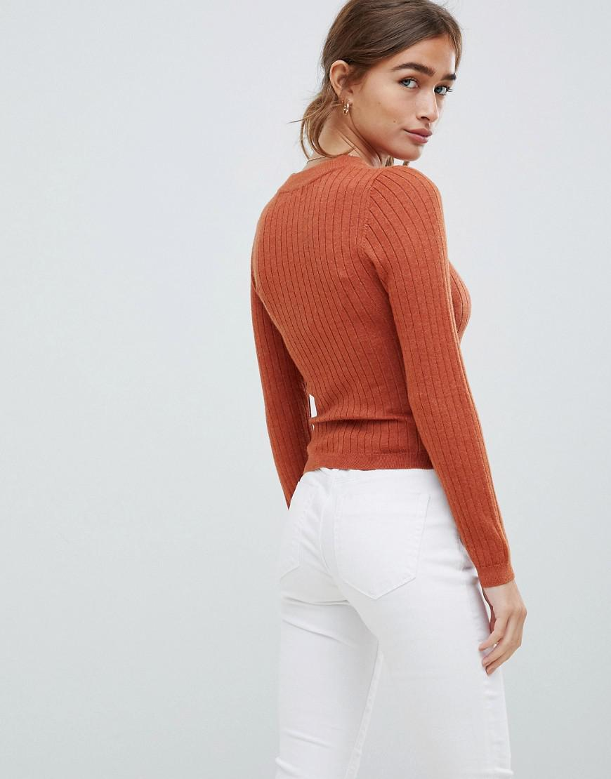 ASOS Asos Design Petite Ribbed Sweater In Fine Knit in Red - Lyst 055afc310