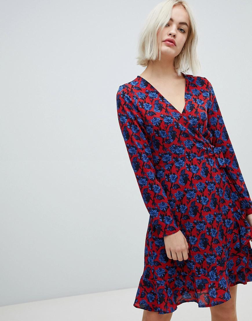 Lyst - Blend She Trophy Floral Print Wrap Dress in Blue 929d35520