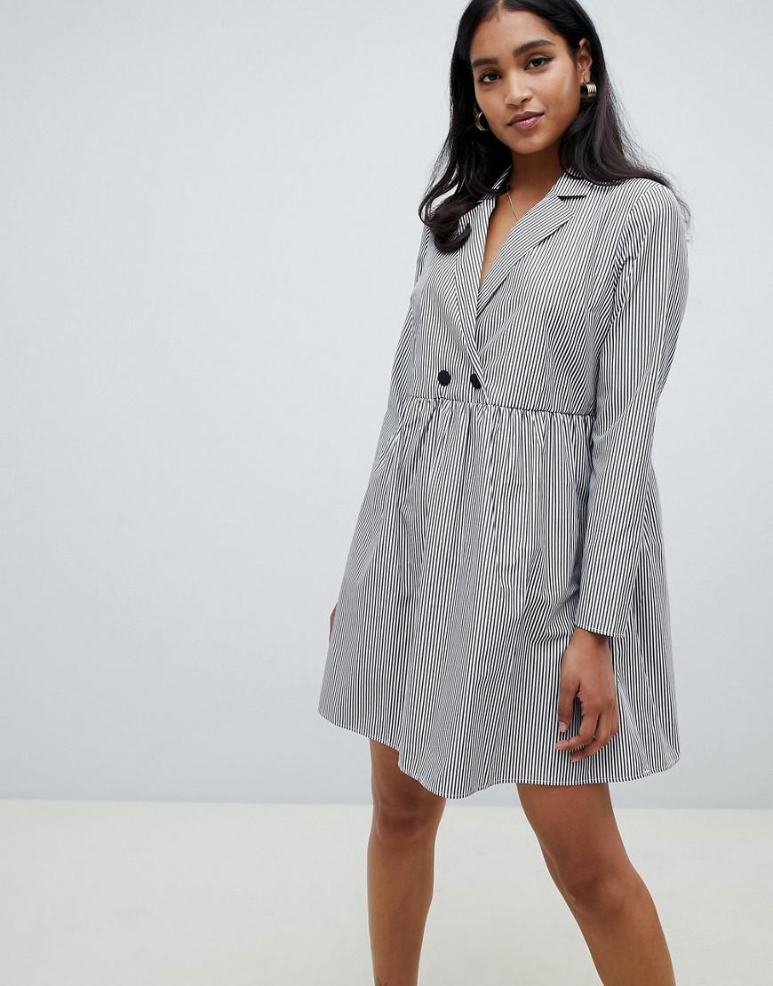5197d7b5d32 ASOS Cotton Smock Mini Dress In Stripe With Long Sleeves in Gray - Lyst
