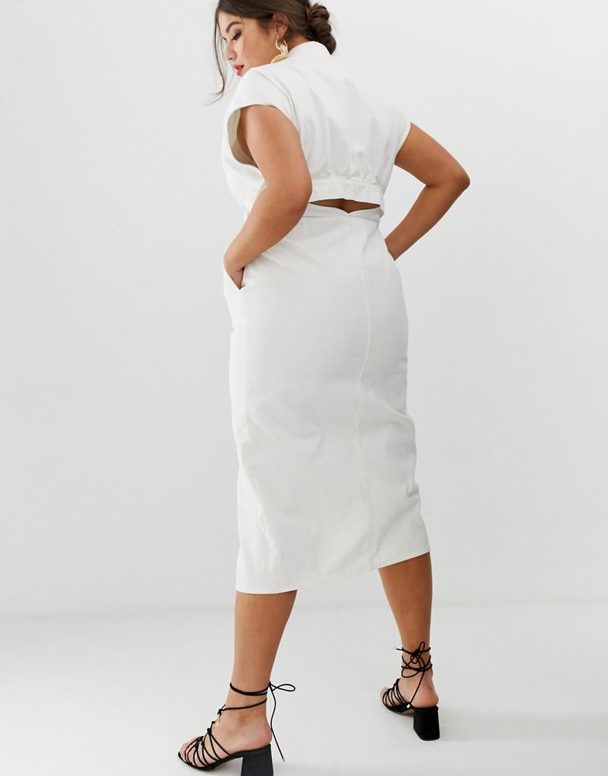 7c4eaa80e015 Lyst - ASOS Asos Design Curve Denim Midi Shirt Dress With Belt And Open  Back Detail in White