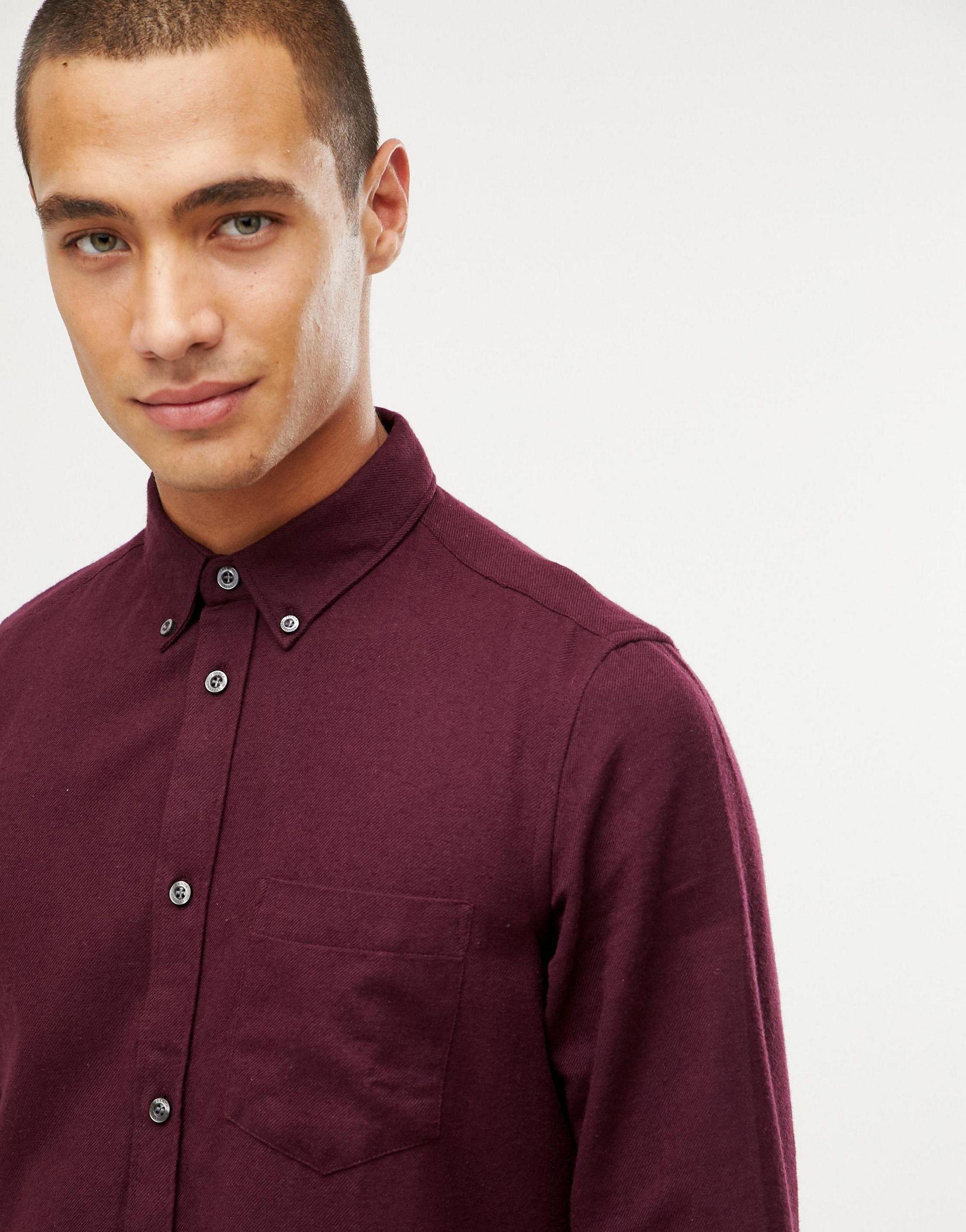 French Connection Flanel Effen Flanellen Overhemd in het Rood voor heren