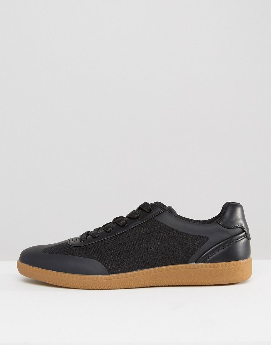 Asos Lace Up Trainers In Black Mesh With Gum Sole in Black for Men ... 4dfe63999