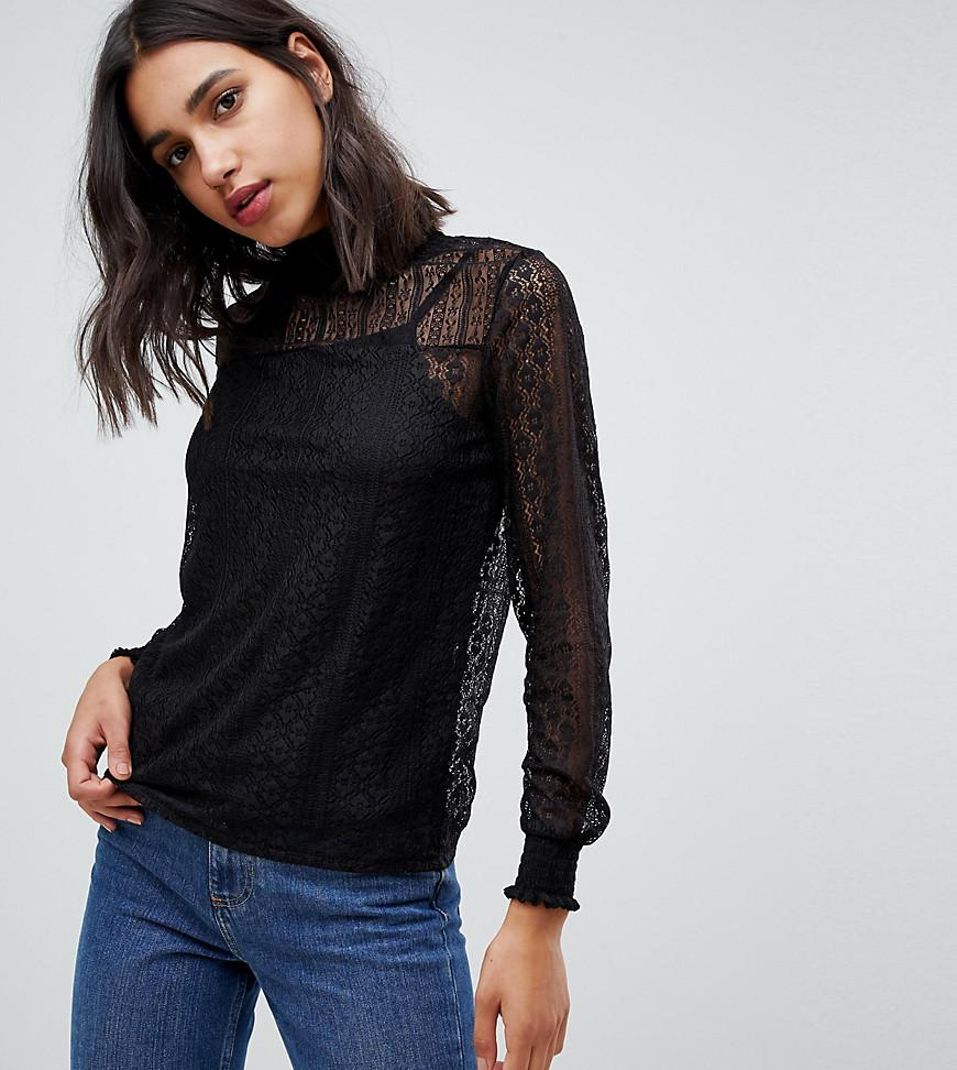 0292cfbc014 Pimkie High Neck Long Sleeve Lace Top in Black - Lyst