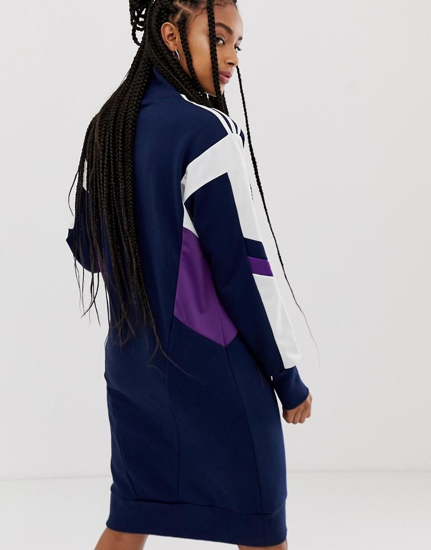 Adidas - Robe col montant avec trèfle Coton adidas Originals en coloris Bleu