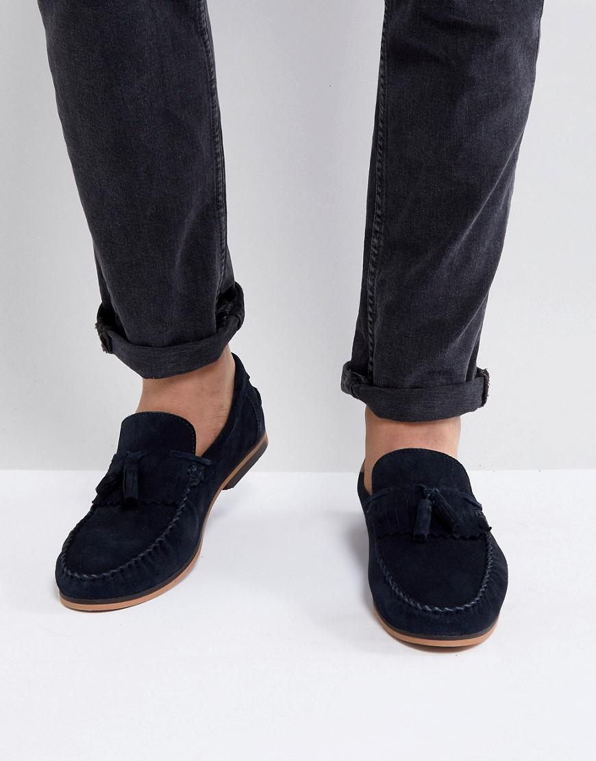 ASOS DESIGN Wide Fit Tassel Loafers In Suede With Fringe And Natural Sole KPYScbHy