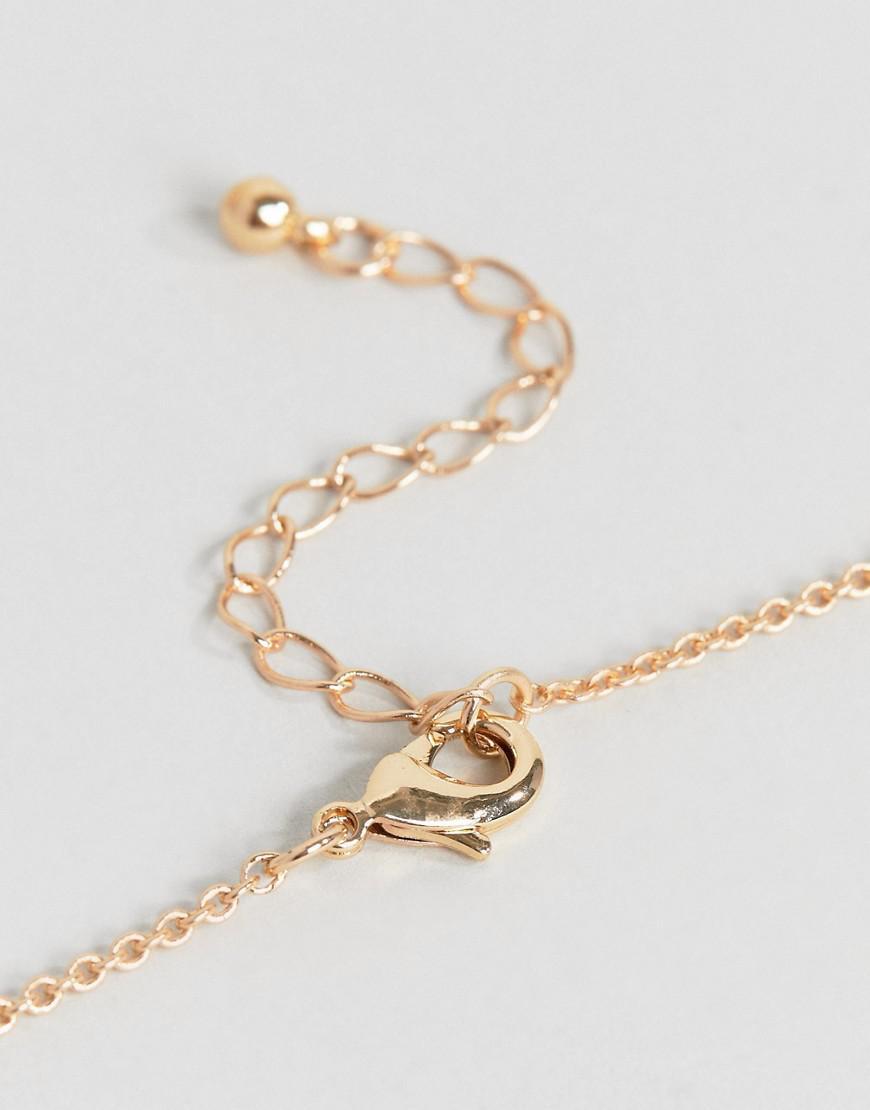 ASOS Denim Circle Disc And Geo Shape Pendant Necklace in Gold (Metallic)