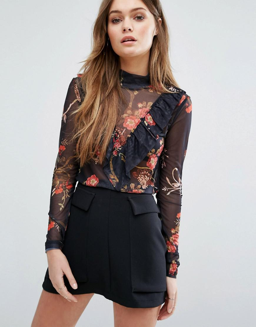 Vero Moda Floral Mesh Ruffle Top In Black