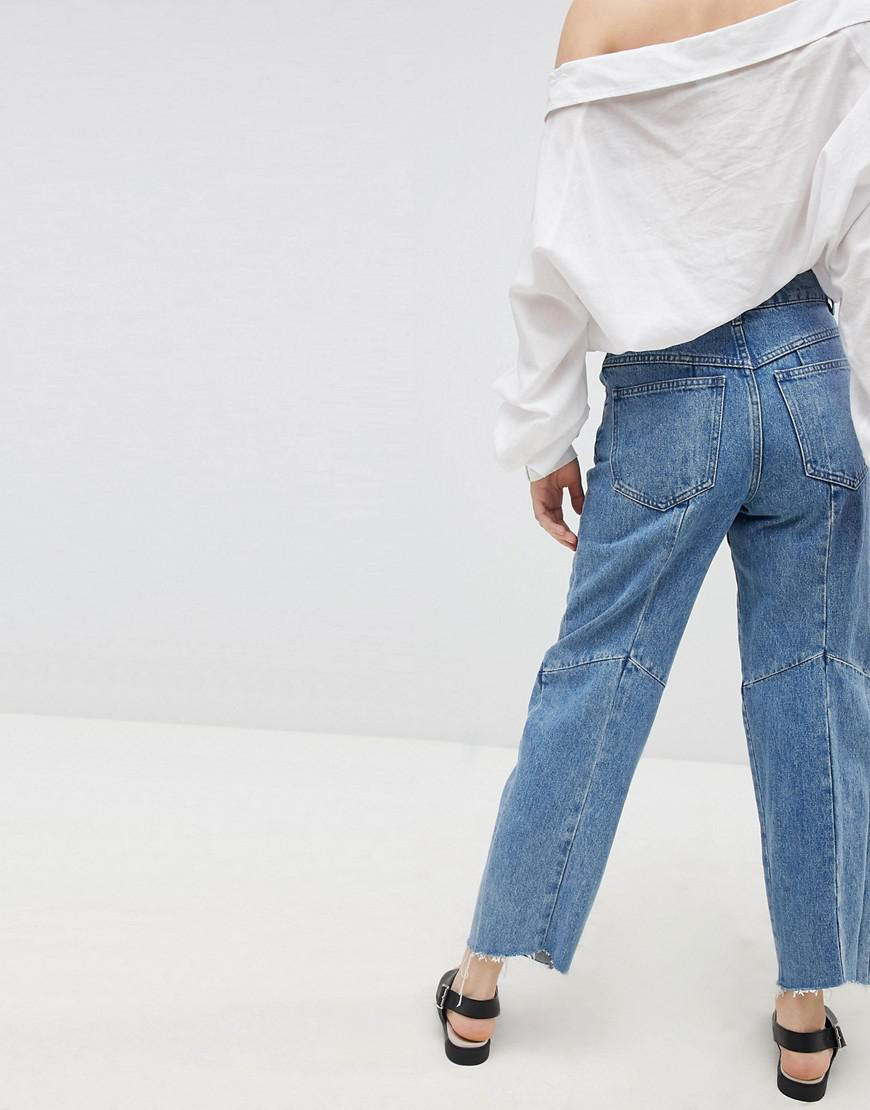ASOS Denim Florence Authentic Engineered Straight Leg Jeans In Mid Vintage Wash Blue