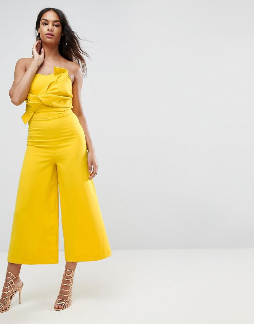 11a03c34fad Lyst - ASOS Asos Bow Bandeau Jumpsuit in Yellow