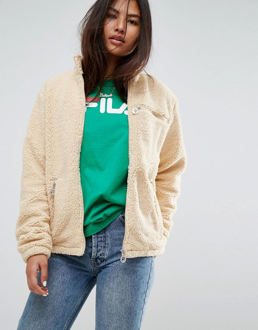 Jacket Zip Fila Sherpa Through Back Fleece With Lyst Oversized dxIZwEYY