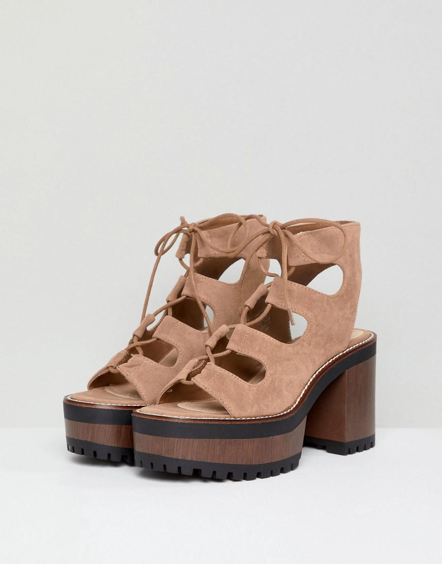 outlet amazon sale clearance Pull&Bear lace up front heel in tan for sale cheap online authentic cheap online 7WKE2Fv