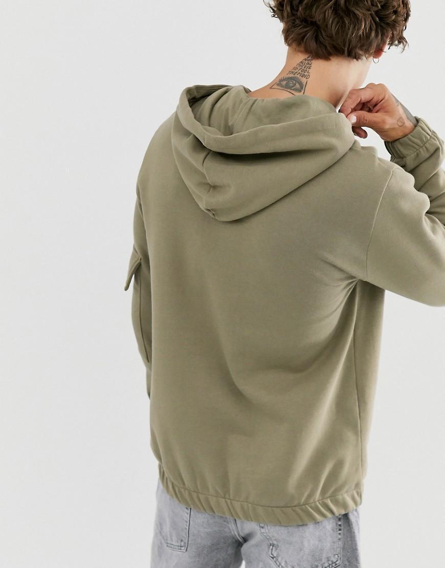 ASOS Katoen Hoodie Met Utility-zak in het Groen voor heren