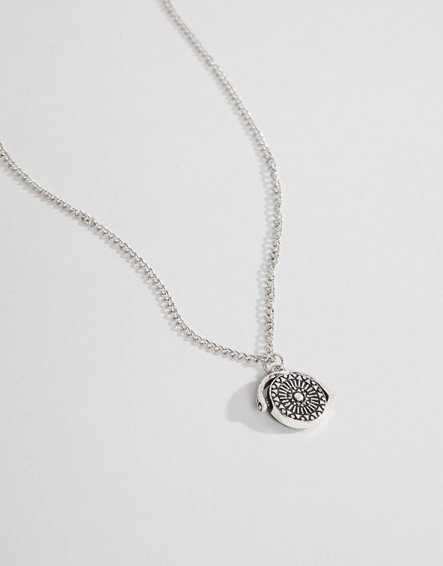ASOS Denim Asos Necklace In Burnished Silver With Aztec Coin And Stone in Metallic for Men