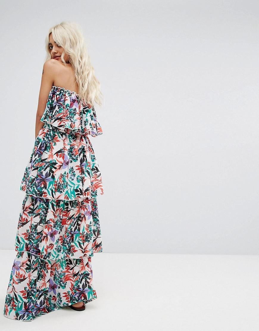 ede417929b Boohoo Tiered Ruffle Maxi Dress - Lyst