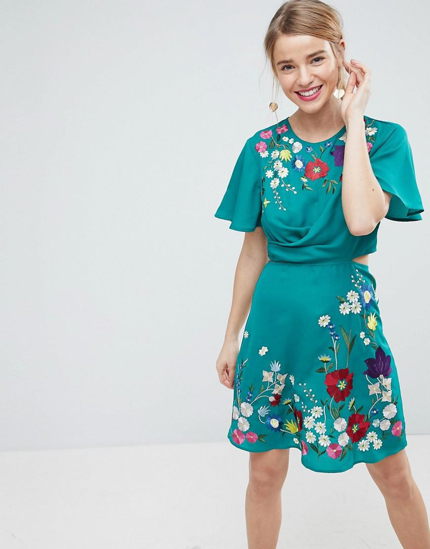 Lyst - Asos Ultimate Embroidered Cut Out Mini Tea Dress in Green