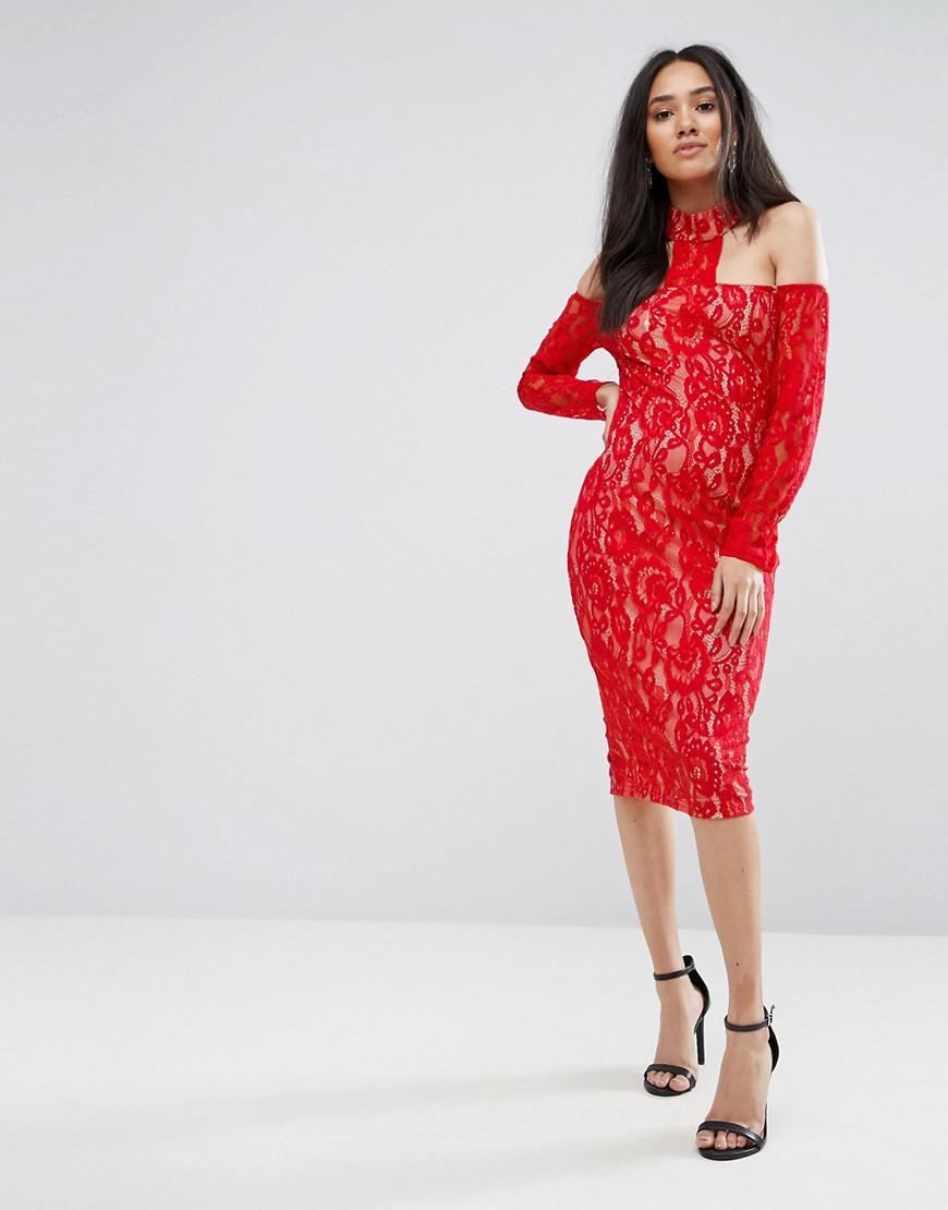 257ed02eac9 AX Paris Red T-bar Lace Choker Midi Dress in Red - Lyst