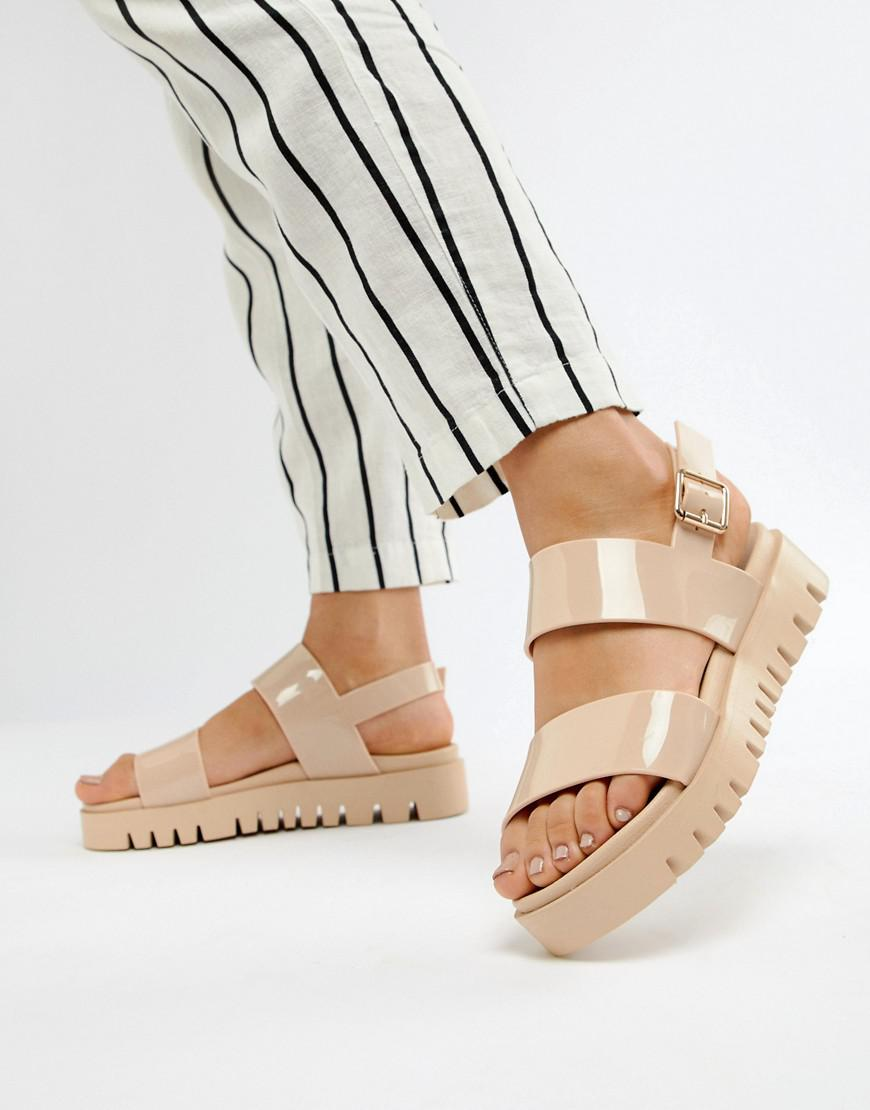 5089a5bc585 Lyst - ASOS Fadey Chunky Jelly Flat Sandals in Natural