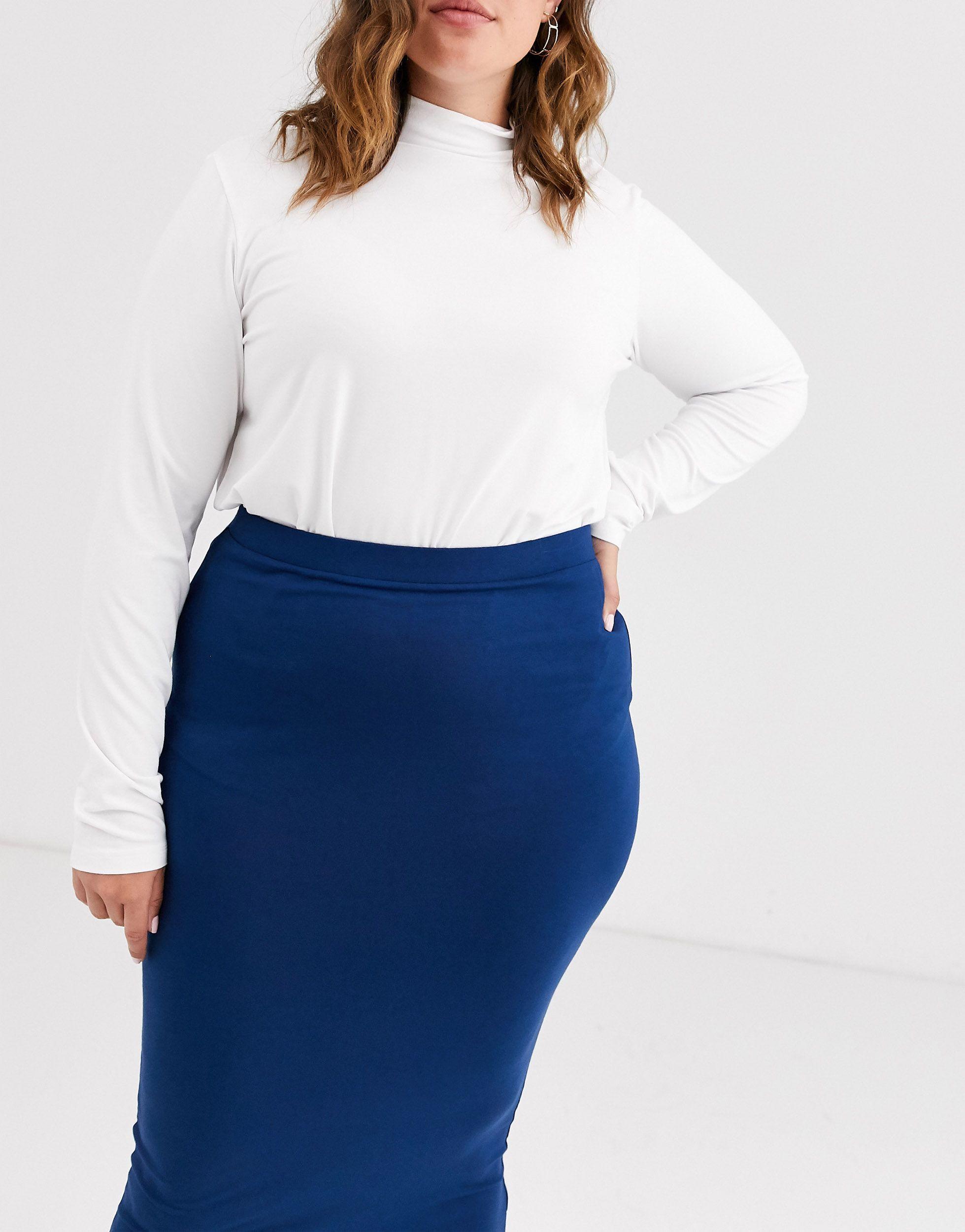 ASOS DESIGN Curve - Jupe fourreau longue en jersey Synthétique ASOS en coloris Bleu