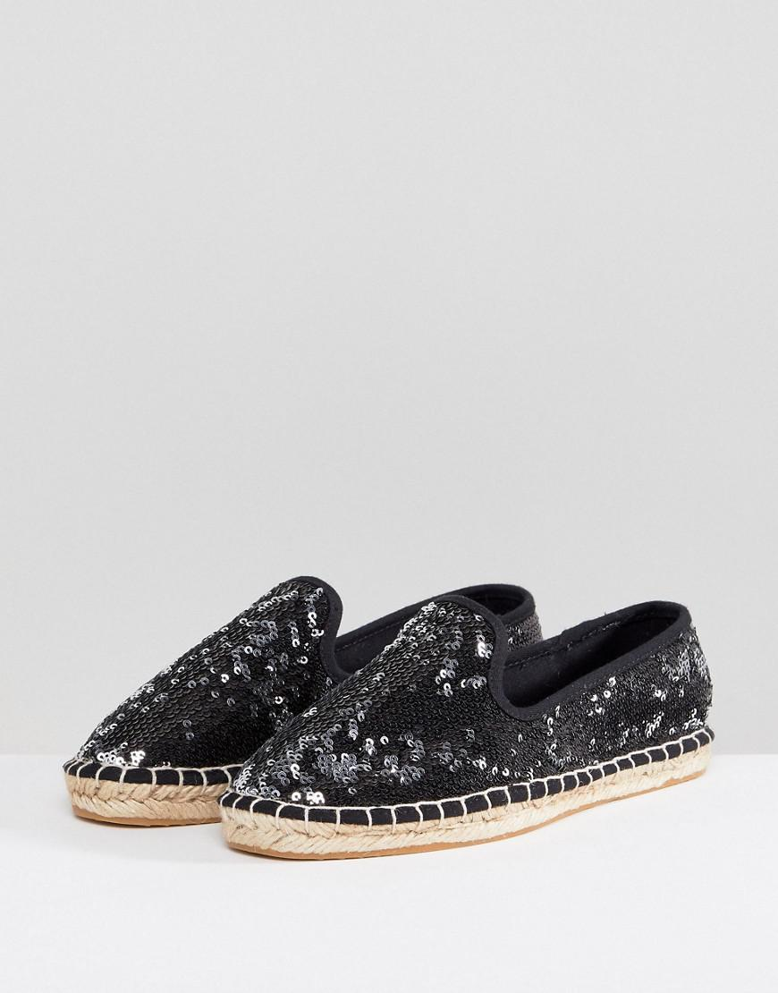 94c0fd8bbe0 Lyst - ASOS Asos Janie Wide Fit Sequin Espadrilles in Black