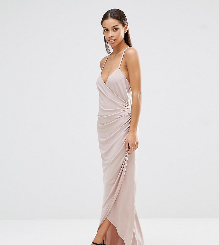 d7fca121f6 Lyst - John Zack Cross Back Cami Maxi Dress With Ruching in Natural