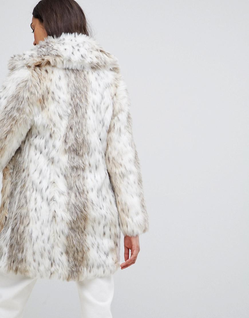 a0089cbd79ce New Look Faux Fur Snow Leopard Coat in White - Lyst