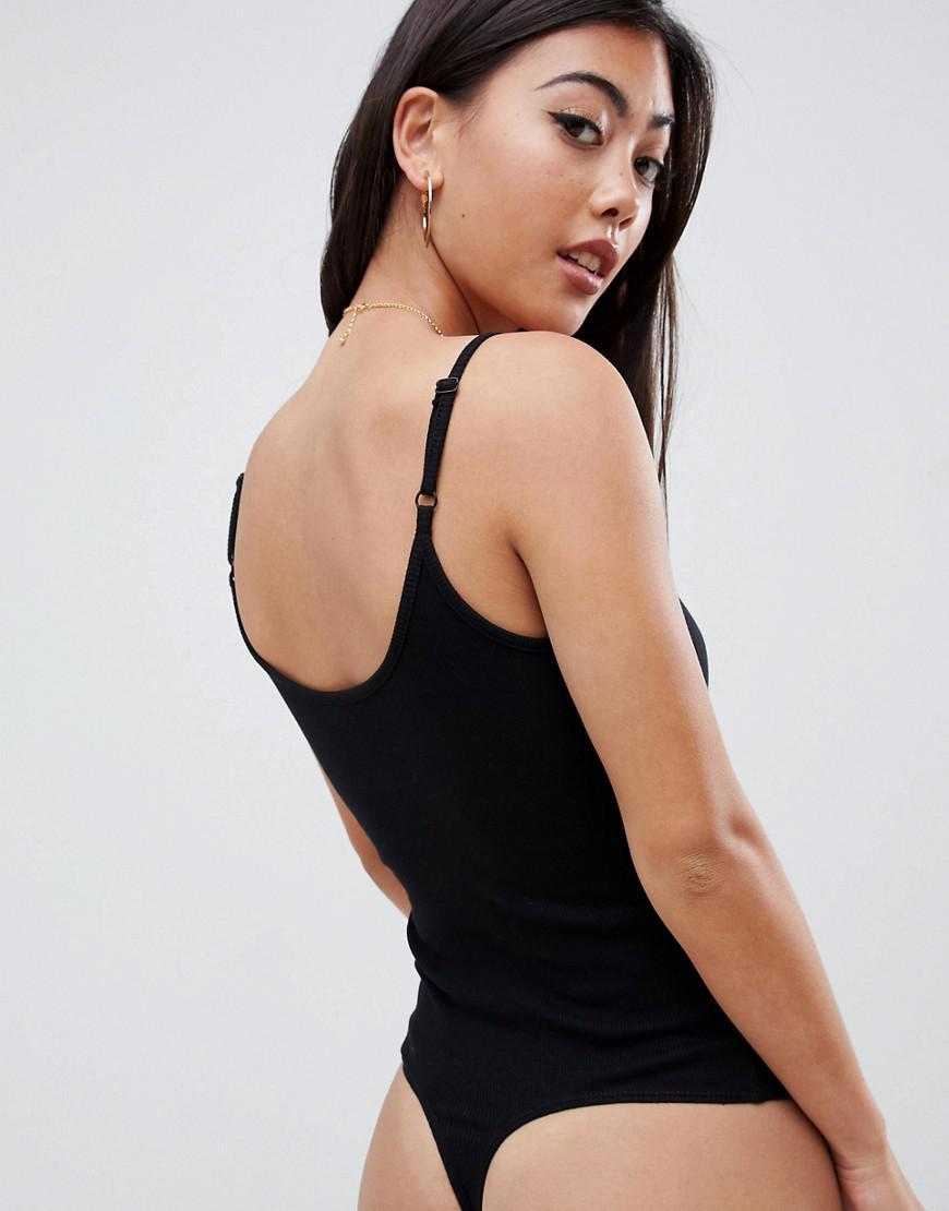 95df96c078712 ASOS Asos Design Petite Cami Body With Wrap Front In Black in Black - Lyst