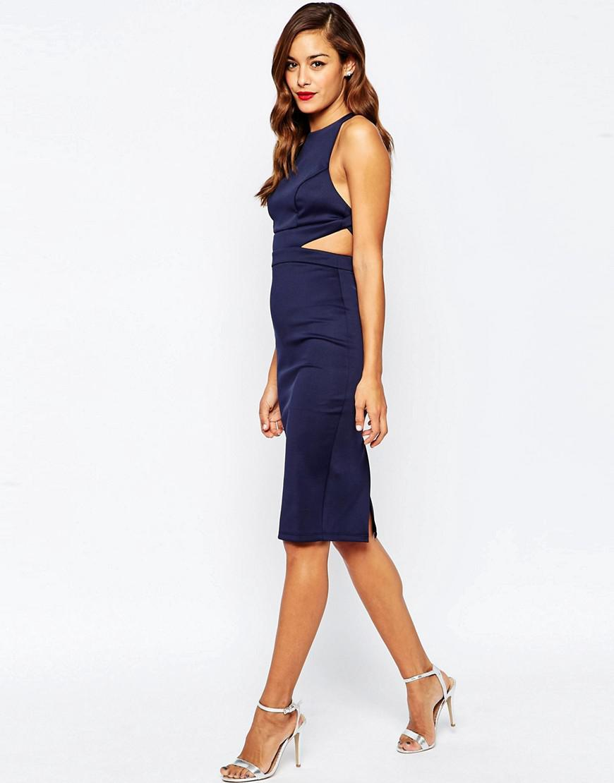 Asos Cutout Strappy Back Bodycon Dress in Blue