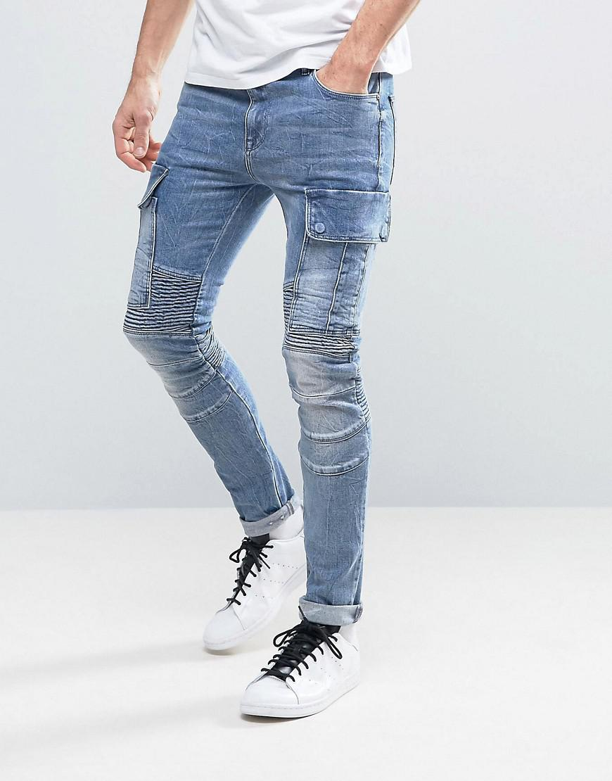 DESIGN Super Skinny Jeans In White With Cargo Pockets - White Asos mWPysXz3bs