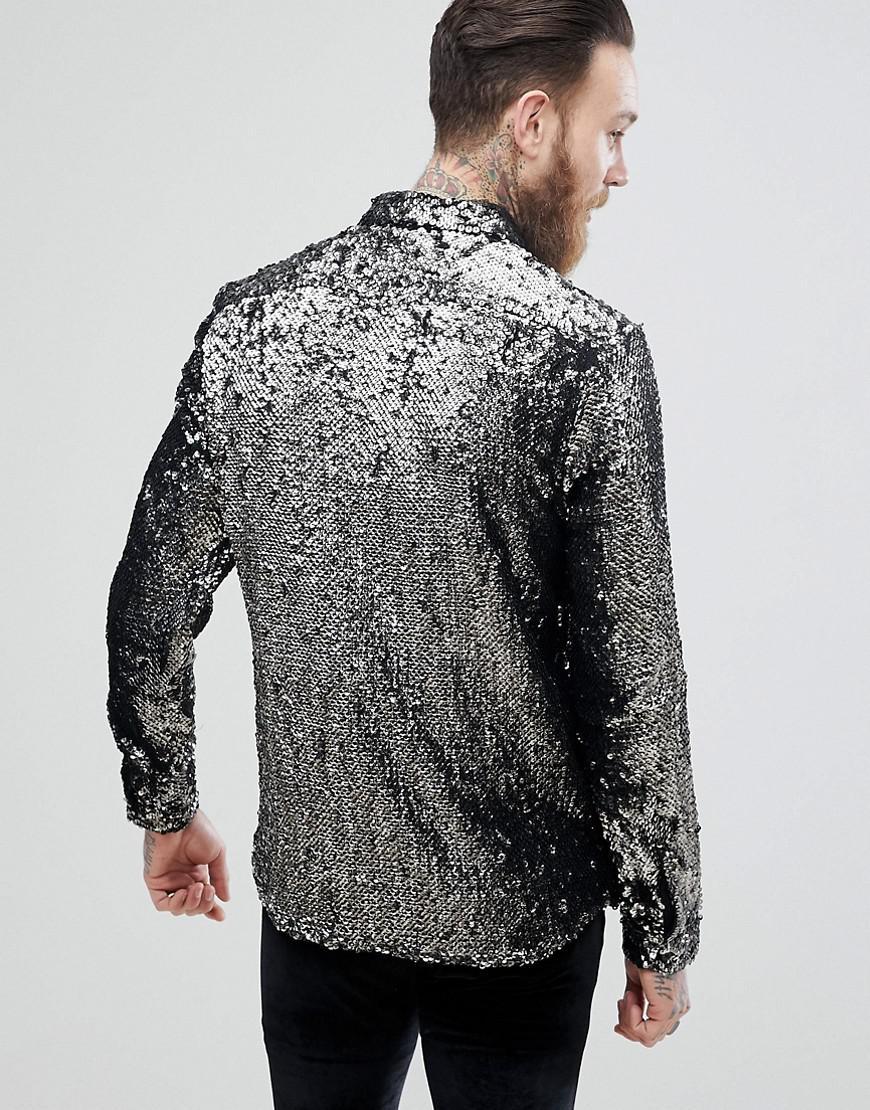 ASOS Denim Regular Fit Sequin Shirt In Silver in Metallic for Men