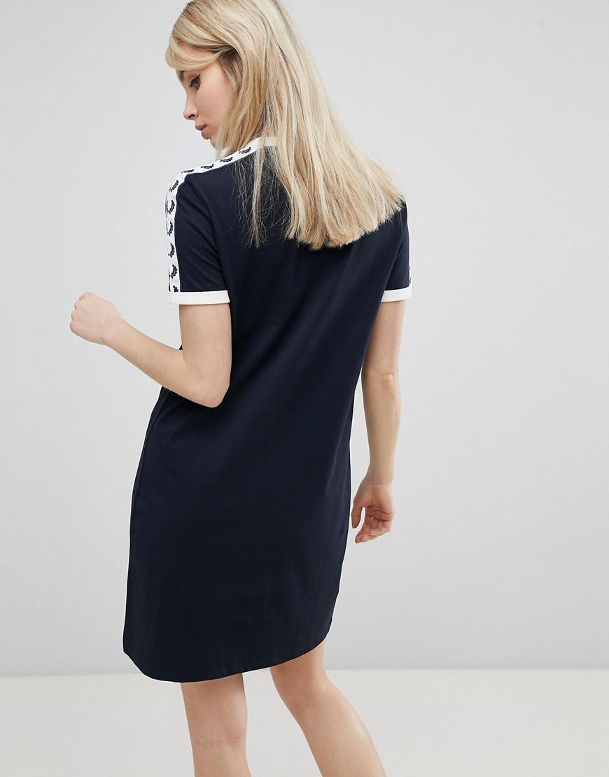 c5628cf6b933 Fred Perry Logo Tape Ringer T-shirt Dress in Blue - Lyst