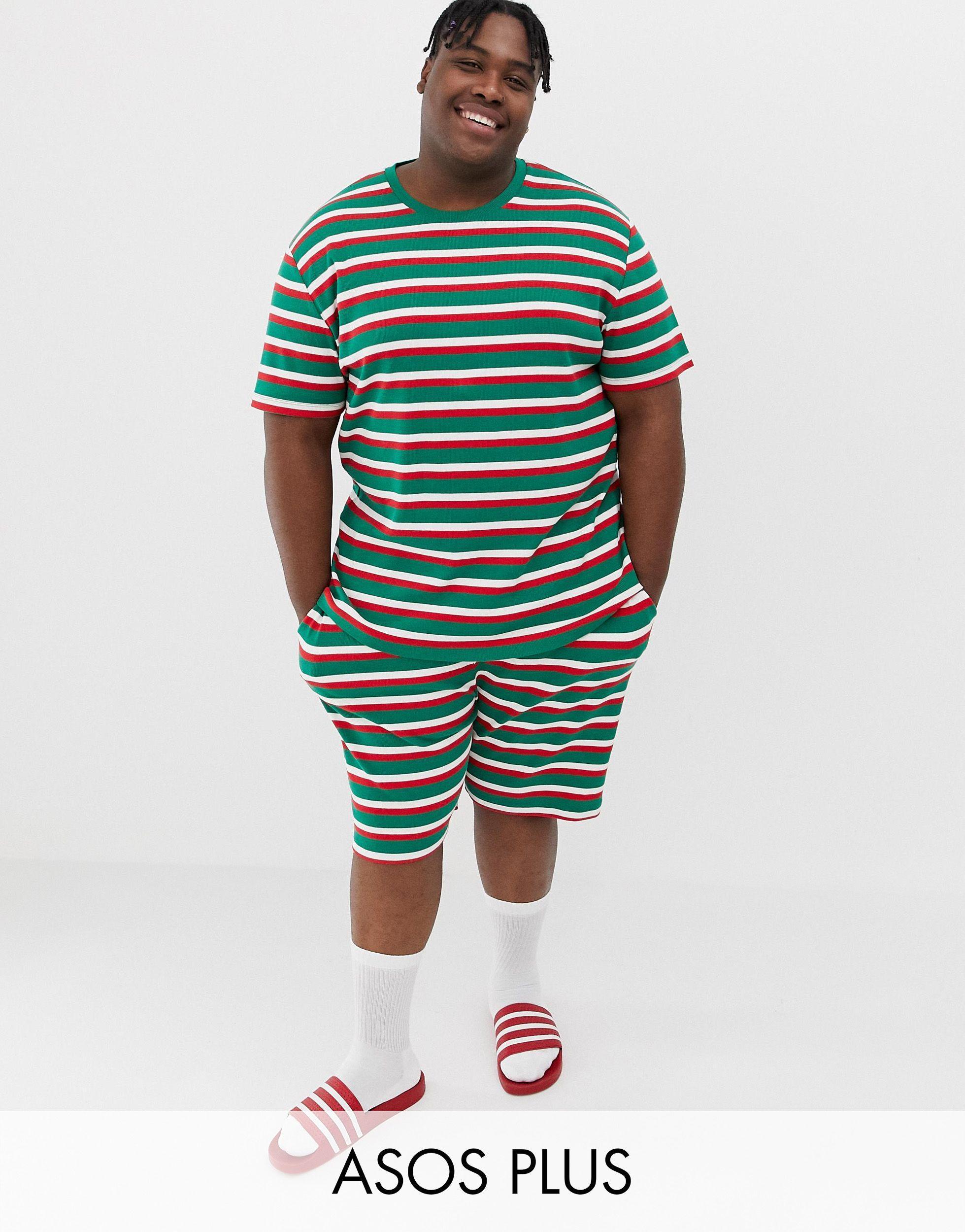 plus – festlich gestreifter, kurzer pyjama für weihnachten